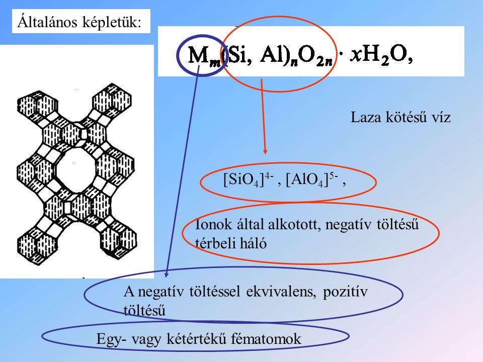 Általános képletük: Laza kötésű víz. [SiO4]4- , [AlO4]5- , Ionok által alkotott, negatív töltésű térbeli háló.